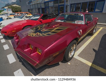 Aigle - SWITZERLAND, July 07, 2018 : The Pontiac Firebird Trans-Am is presented at Meeting US Car Aigle