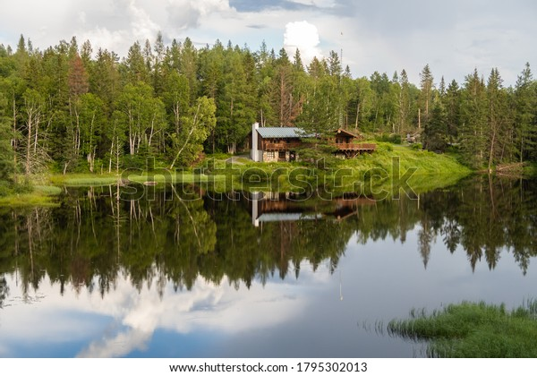 Aiguebelle national park, Canada - july 2020 : view of the service and information center, surrounded by forest and a lake