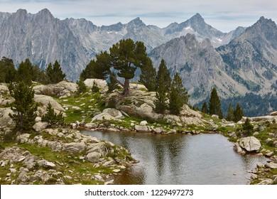 Aigues tortes national park mountain landscape. Estany dAmitges. Spain