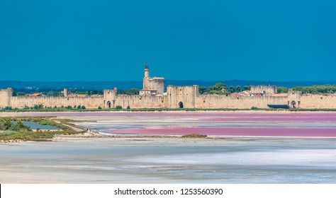 Aigues-Mortes, Salins du Midi, panorama with salt marshes