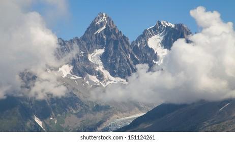 Aiguille du Chardonnet and Aiguille Argentiere from Flegere, Les Praz de Chamonix, France.