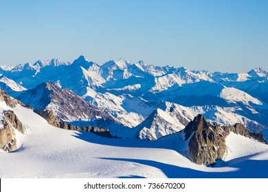 Aiguille du Midi, French Alps. Ski resort. Chamonix Mont Blanc, France. Holidays in Europe