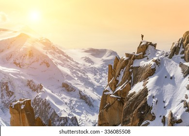 Aiguille du Midi, Mont Blanc, France, Beautiful Sunrise Over Mountain Landscape, Lone Male Mountain Climber