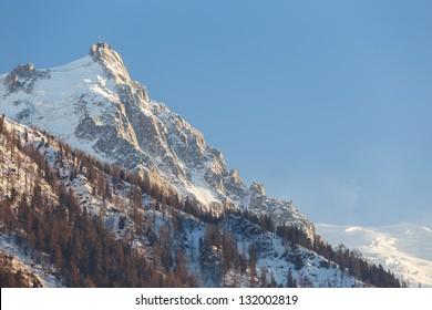 Aiguille du Midi mountain peak in Chamonix.