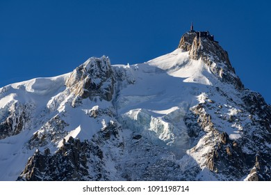 Aiguille du Midi needle in winter morning light. Chamonix Mont Blanc, Haute-Savoie (Upper Savoy)