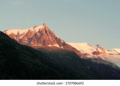 Aiguille du Midi peak in the Mont Blanc Massif, in the Aiquilles de Chamonix mountain group