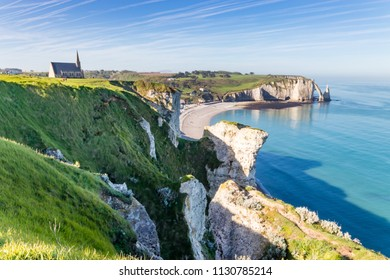 Aiguille Etretat cliff on the sea side and  limestone cliffs in France
