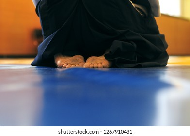 Aikido background. A man sits in zazen on a blue wrestling mat. Web banner with place for text.