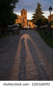 AINSA, SPAIN-JUNE 19, 2018: Sunset at the entrance of the town of Ainsa in the Huesca Pyrenees, Spain on June 19, 2018
