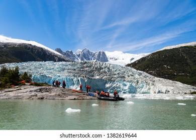 AINSWORTH BAY, TIERRA DEL FUEGO, CHILE – JANUARY 18, 2019:The Pia Glacier lies in a fjord along the Chilean Patagonia coast - Ainsworth Bay, Tierra del Fuego, Patagonia, Chile