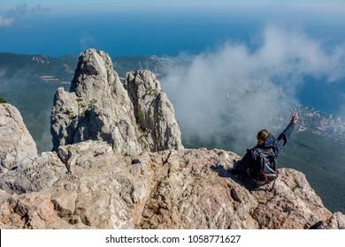 Ai-Petri, Crimea - September 2014: Southern coast of Crimea, battlements of Mount Ai-Petri. View of the city of Alupka