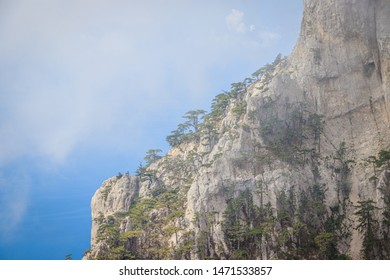 Ai-petri mountain in the fog. High mountain. Crimea. Russian mountains. Low clouds. Beautiful mountain landscape. The famous AI Petri mountain, partially covered with clouds, fog, one of the highest