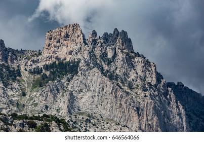 Ai-Petri mountain view from Vorontsov Palace, Alupka, Crimea peninsula