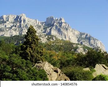 Ai-Petri mountains seen from Vorontsov palace, Crimea peninsula, Ukraine