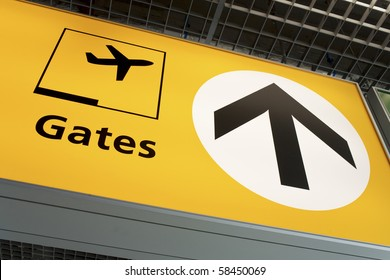 Aiport fight departure gate sign