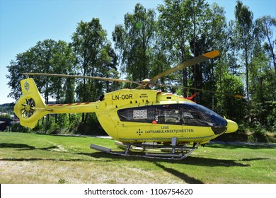 Air ambulance services - LN-OOR H145 - Airbus Helicopter - Kongsvinger, Norway (5th June 2018)