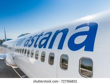 Air Astana Boeing 757 -200 on the ground, Kazakhstan, Aircraft livery Air Astana, October, 03, 2017.