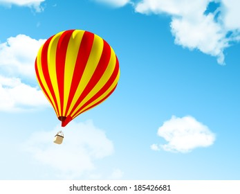 Air balloon in the blue sky with clouds