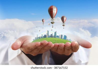 Air balloon in summer sky