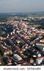 An air balloon trip over the historic town of Tabor in South Bohemia in Europe