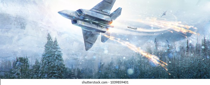 Air battle of two fantastic aircraft in the in winter sky in the mountain landscape. Digital paint, raster illustration.