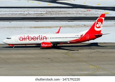 "Air Berlin Boeing 737-808, Registration D-ABBX, Manufacturer Serial Number (MSN): 34969, is taxing down the runaway at the Berlin Tegel ""Otto Lilienthal"" Airport. Berlin, Germany March 30, 2014."