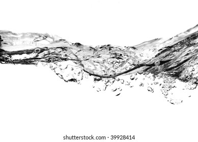 air bubbles in water isolated on white - black and white