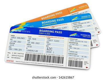Air business travel transportation concept: group of color airline tickets for first, business and economy class travel isolated on white background