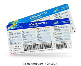 Air business travel transportation concept: group of color airline tickets for first and business economy class travel isolated on white background