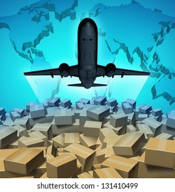 Air cargo shipping concept with an airplane flying above a large group of mail courier packages on a three dimensional map of the world as a global overseas transportation symbol.