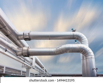 Air Chiller Pipeline and HVAC System of Department Store, Overhead Building Structure of Air Conditioning Chiller Pipe and Outlet Cooling Systems. Insulation Cover for Piping of Industrial Equipment