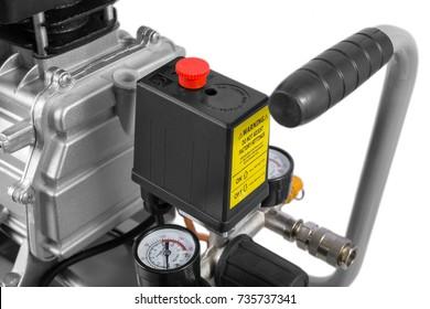 Air Compressor on white background - compressor pressure switch