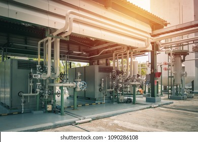 Air compressor station in factory with sunlight support industrial air for equipment in industrial plant