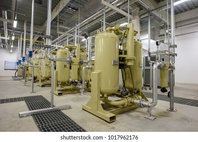 Air compressor system of building utility room in factory