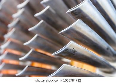 Air compressor turbine blades of an airplane turbojet jet engine. (SHALLOW Depth of Field) II