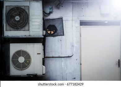 Air compressors on the wall with the white lighting.