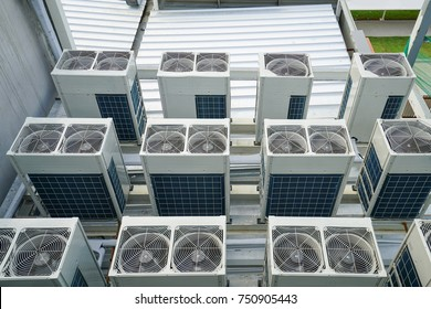Air condensing unit on the rooftop stage floor of building in the factory
