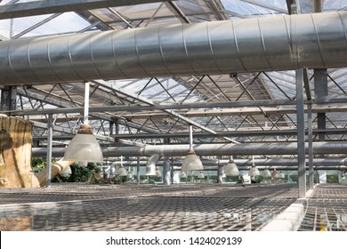 Air Condition pipe line system with glass ceiling. Ceiling air duct and light