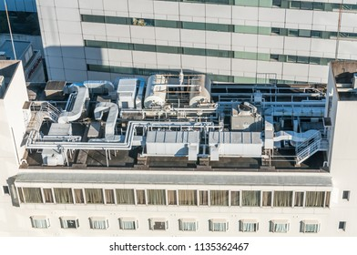 Air condition system on building roof top.