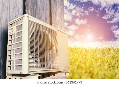 Air conditioner for cooling, energy saving To reduce global warming concept idea.