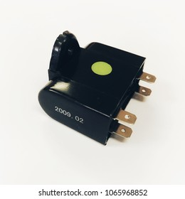 Air Conditioner Fan Motor Running Capacitor on white background
