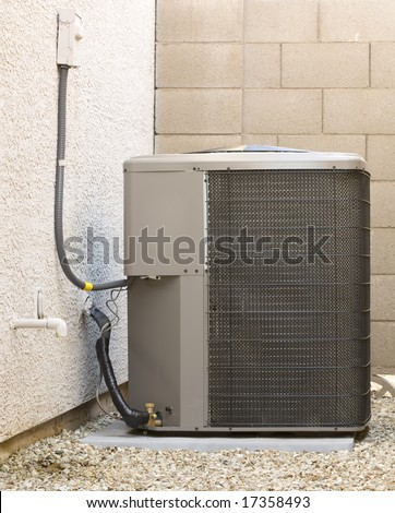 Air Conditioner Heat Pump Residential Compressor Stock Photo