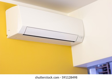 Air conditioner on wall in an apartment
