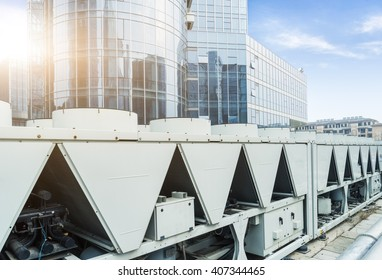 air conditioner outside machine with building background
