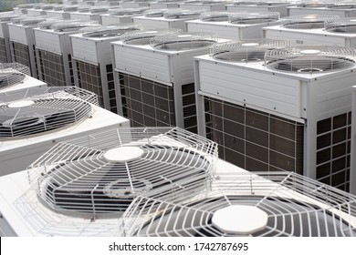 Air conditioner outside unit compressors,Multiple machines, Air conditioner factory,The heat that floats up into the atmosphere is a lot.