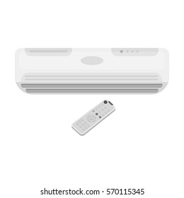 Air conditioner with remote control icon in monochrome style isolated on white background. Office furniture and interior symbol stock bitmap, raster illustration.