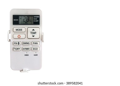 Air conditioner remote control on isolated white background wiih copy space