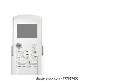 Air conditioner remote control on white background and space for add text