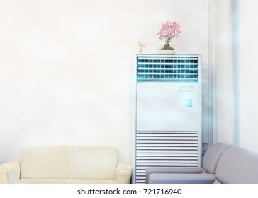 Air conditioner with sofa in the office room.The cooling system inside the room can be changed to cool the air.