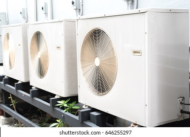 Air conditioners condenser units at building